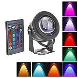 Zantec 10 Watt IP68 Wasserdichte LED RGB Unterwasserlicht Flutlicht Lampe mit Fernbedienung für Landschaft Brunnen Teich Pool