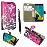 Vodafone Smart Turbo 7 Case, Kamal Star® PU Leather Magnetic Flip Case Cover + Stylus (Butterfly Purple Book)