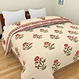 Famacart Double Bed Size Jaipuri Pure Cotton Quilt Razai Hand Block Flower Printed Winter Quilt (King Size)
