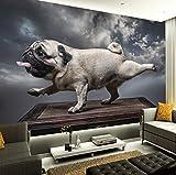 Kuamai 3D Cartoon Tier Leinwand Hund Tapete Wandaufkleber Wandbilder Kinderzimmer Kunst Poster Aufkleber Wohnzimmer Schlafzimmer Dekoration-250X200Cm