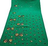 Vintage sari de vestir juegos georgette de arte tela reciclada bricolaje bordado usados casa pareo 5YD decoración cortina verde cubrir - Trove - amazon.es