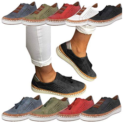 Sportschuhe für Damen/Dorical Frauen Slip on Sneakers, Casual Hohle-Heraus Round Toe Schuhe, Bequeme Sneaker Slipper, Halbschuhe,Sportlich Flats Damenschuhe(Z02-Schwarz,43 EU)