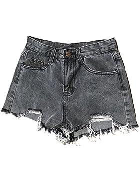 LINNUO Pantaloncini Donna Jeans Distressed Shorts Denim da Spiaggia Nappa Casuale Pantaloni Hot Corti Estivi