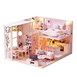 Lemogo DIY Holz Puppenhaus Handmade Miniatur-Kit-Leisurely Time Pink Room Modell & Möbel