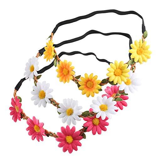 Nahuaa Stirnband Blumen Haarband 3 Stück Daisy Blumenkranz Blume Kopfband mit Justierbaren Elastischen Band für Hochzeit Karneval Party Geburtstagsfeier Weiß Gelb Pink (Weiße Und Gelbe Baby-stirnband)