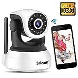 Cámara de Vigilancia WiFi Sricam SP017, Cámara IP 1080P Bebe Interior HD Inalámbrico con Visión Nocturna, Audio Bidireccional, Detección de Movimiento, Compatible con iOS Android Windows PC