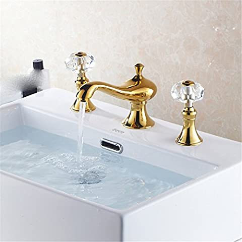 Continental bathroom Cu all continental split under Tray 3-piece set gold double basin3Hole hot/cold running water,Tap 3