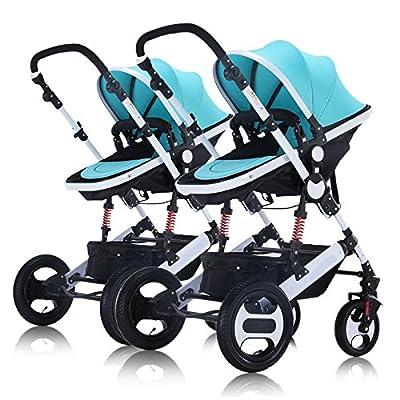 Cochecito Twin Baby Stroller Bidireccional Sleeping Basket Compacto High Landscape Ligero Plegable Puede Acostarse Portable Baby Carriage Baby Child Cart Combinación Desmontable