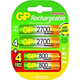 GP Batteries Ni-MH batterie rechargeable : 4 x 2600AA / 4 x 800AAA