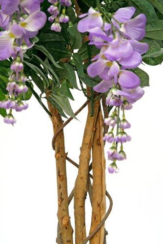 Blauregen 1,10 m künstlich Kunstpflanze Kunstbaum Echtholzstamm - 2