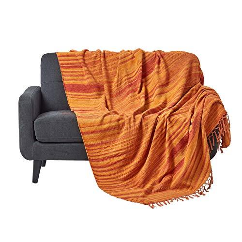 Homescapes Tagesdecke/Sofaüberwurf/Plaid Chenille in Orange gestreift mit Fransen - 150 x 200 cm - handgewebt aus 100% Reiner Baumwolle - Chenille Streifen-teppich