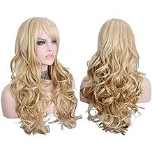 Anxin® 65cm largo ondulado rubio Pelucas con Bangs para las mujeres con peluca libre regalo multicolor (gris + marrón)