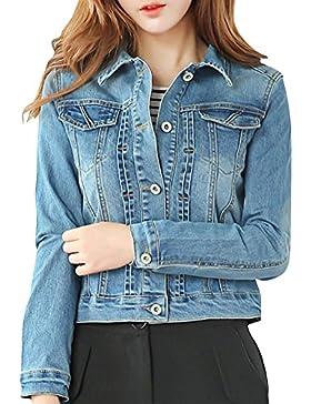 Donna Manica Lunga Giacca di Jeans Denim Jacket Vintage di Stile Boyfriend Oversize Casuale