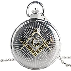 XIGEYA New Fashion the Yellow Masonic Compass Square Pattern Silver Large Dial Pocket Watch Chain Xmas Gifts