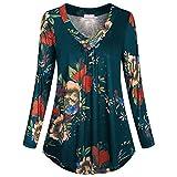 KUDICO Damen Lässige Tops Plus Größe Lange Ärmel V-Hals Blumendruck Knopf Pullover T Shirt Bluse (Grün, EU-48/CN-5XL)