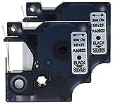 2 Kassetten D1 40922 schwarz auf silber 9mm x 7m Schriftband kompatibel für DYMO LabelManager LM 100, 110, 120P, 150, 155, 160, 200, 210D, 220P, 260, 260D, 280, 300, 350, 350D, 360D, 400, 420P, 450, 450D, 500TS, PC, PC2, PnP, PnP Wireless, LabelPoint LP 100, 150, 200, 250, 300, 350, LabelWriter LW 400 Duo, 450 Duo Beschriftungsgerät