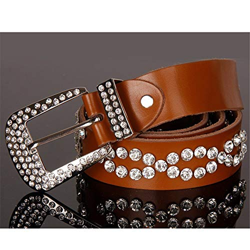Y-WEIFENG Frauen Gürtel einstellbar schwarz Pu Leder Schnalle Tülle Gürtel ` (Farbe : Braun, Größe : Free Size) -