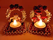 JH Gallery Rajasthani Dolls Jharokha Tealight Candle Holder, Multicolor (3 * 6 Inches) (1 Pair)(2 Candle Holde