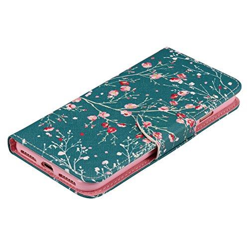 Coque pour Apple iPhone 7 4.7,Housse en cuir pour Apple iPhone 7 4.7,Ecoway Colorful imprimé étui en cuir PU Cuir Flip Magnétique Portefeuille Etui Housse de Protection Coque Étui Case Cover avec Stan Arbre d'amande