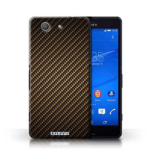 Kobalt® Imprimé Etui / Coque pour Sony Xperia Z3 Compact / Or conception / Série Motif de Fibre de Carbone Or