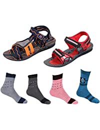 IndiWeaves Boys Combo Pack (Pack Of 2 Boys Sandal And 4 Cotton Socks)
