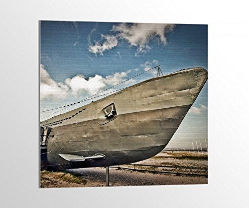 Preisvergleich Produktbild Alu-Dibond U Boot Schiff alt detsch Uboot Bild auf Aluminium AluDibond UV Druck gebürstet Wandbild Metall Effekt 16A2417, Alu-Dibond 1:50x50cm