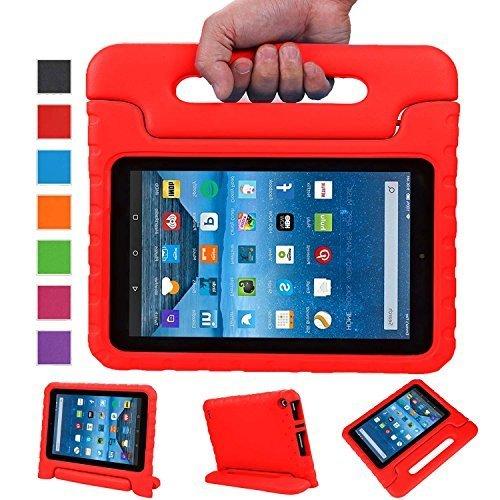 NEWSTYLE Fire 7 2015 Tablet Hülle EVA Stoßfeste Schutzhülle Tragbar für Kinder mit Ständer Schutzhülle Standfunktion für Amazon Fire 7.0 Zoll 2015 Tablet, rot