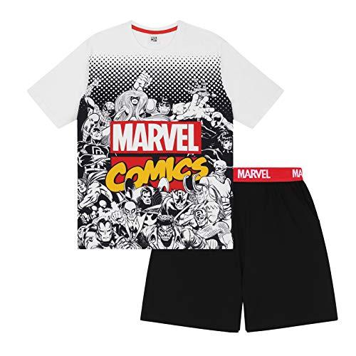 Marvel Comics - Herren Schlafanzug - kurz - mit Hulk, Spiderman und Iron Man - Offizielles Merchandise - Weiß - L
