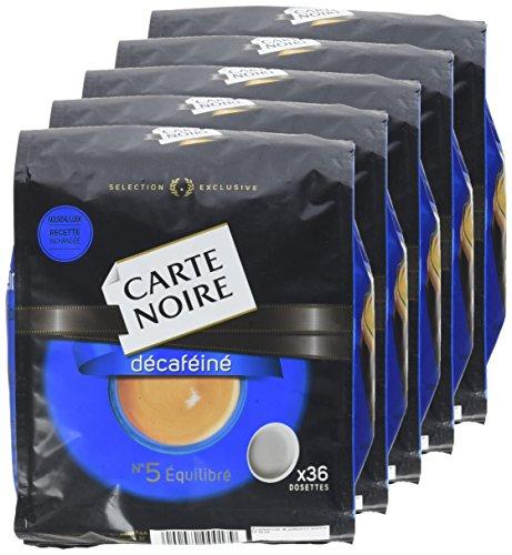 Carte Noire Décaféiné N°5 - 180 Dosettes souples  Lot de 5 X 36