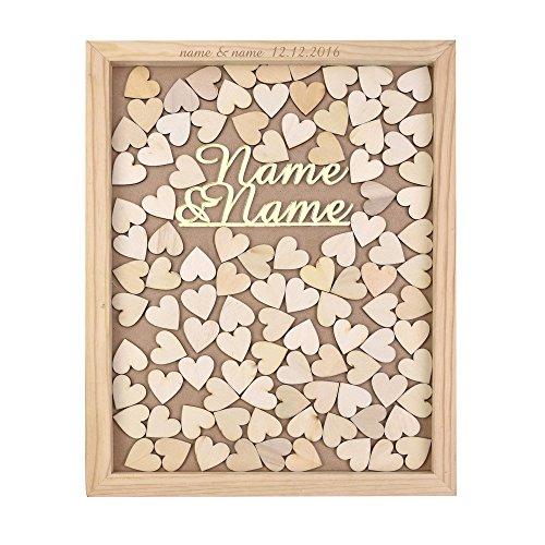 Top aus rustikalem Holz Rahmen Hochzeit Gästebuch Alternative Rahmen Maßgeschneiderte Namen 35x 30cm mit 120PCS Holz Herzen, holz, gold, 40 x 50 cm ()