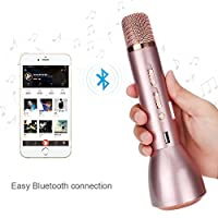 FJOY K088 Mikrofon Wireless Bluetooth - Handheld Lautsprecher Kompatibel mit Android, iPhone, Samsung, andere smartphonew-karaoke Kondensator Mikrofon für Sprachaufnahme Tabletten (Rosa)