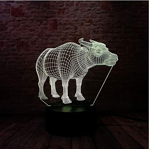 Stier-Action-Spielzeugfiguren 3D-Illusion Led-Lampe Bunte Touch Nightlight Flash-Beleuchtung Glow In The Dark Cow-Modell (Glow In The Dark Party Decor)
