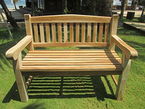 2-Sitzer Teakbank Gartenbank ink. ausziehbarem Tablett ca. 120 cm breit Sitzbank Parkbank Holzbank Teak Bank - 2