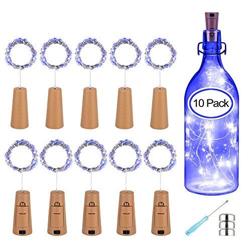 PATISZON 10x 20 LED korken mit led lichterkette flasche LED Lichter Lichterkette Flaschen DIY- 39 inch für Nacht Licht Weinflasche Hochzeit Party romantische Deko (Blau) Blaue Led-licht