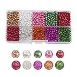 PandaHall 250 Stück 4-4,5mm Glas-Perlen in Verschiedenen Ausführungen farbig rund zum Basteln von selbstgemachtem Schmuck, 4-4,5x 4mm, Loch: 1mm, ca. 25 Stück pro Abteil Colore Misto#3