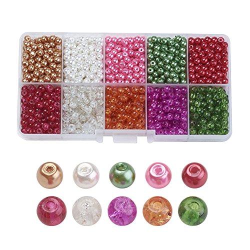 PandaHall 1.500 Stück 4-4,5mm Glas-Perlen in verschiedenen Ausführungen -