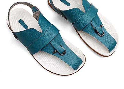 insun hommes de sangle String en Cuir Flip Flop Bleu - Paon