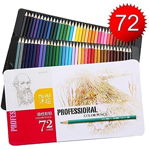 Lapices de Colores Kasimir 72 Lapices Colorear Fijaron con Colores Para Art Major Dibujo Niños Pintura Suministros de Oficina Escuela Adulto para Colorear Libros