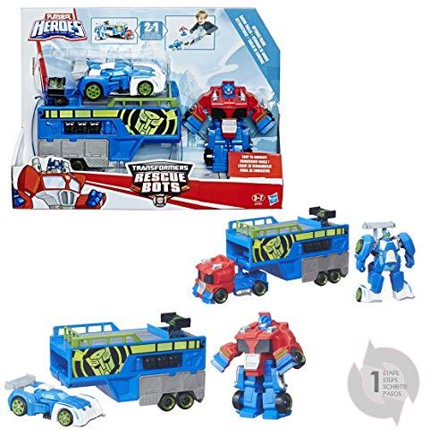 TRANSFORMERS Rescue Bots - Robot 2 en 1 remorque de course Optimus Prime - Jouet transformable 2 en 1