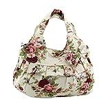 Vicloon Damen Einkaufstasche Handtasche Printed Bowknot Tasche Handtasche Mit Knoten Ohrringe, Rot Blumen
