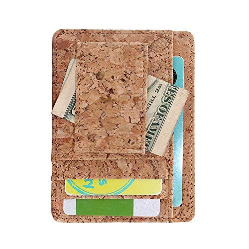 Boshiho Eco-Friendly Kork Kreditkarten-Organizer Brieftasche Slimfold Visitenkartenetui, einzigartiges veganes Geschenk 4.0 x 2.8 x 0.2 inch Cork 2 (Vegan Visitenkartenetui)