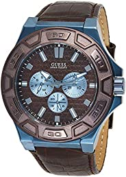 GUESS Men's Quartz Watch, Analog Display and Leather Strap W06