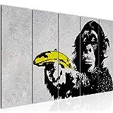Bilder Affe mit Bannane Banksy Street Art Wandbild 200 x 80 cm - 5 Teilig Vlies - Leinwand Bild XXL Format Wandbilder Wohnzimmer Wohnung Deko Kunstdrucke Gelb Grau - Fertig zum Aufhängen 302855a