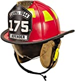 MSA 1044DSR Cairns 1044 Traditional Composite Fire Helmet with Defender, Red, Nomex Earlap, Nomex Chinstrap with Quick Release & Postman Slide, Lime/Yellow Reflexite, 6