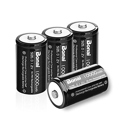 BONAI Ultra Pilas Tipo D Recargables 10000 mAh Baterías Recargables...