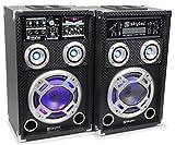 Skytec KA-08 Aktiv Passiv Karaoke-PA-Lautsprecher Boxen Set (300W RMS, USB-SD-Slot, LED-Lichteffekt musikgesteuert, Mikrofon-und Effektsektion) schwarz