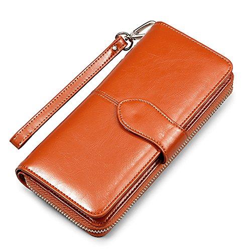 Myleas Damen Leder Geldbörsen Brieftasche Portemonnaie - Groß Kapazität