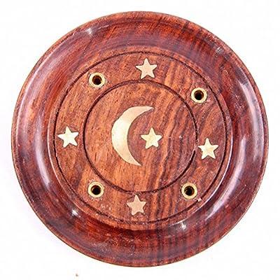 Sheesham Wood Round Ash Catcher - Moon & Stars Inlay