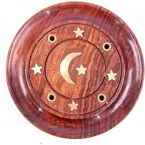 Madera de Sheesham colector de cenizas redonda - la luna y las estrellas del embutido