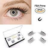 Magnetic False Eyelashes by Fstyle,Reusable Fake Eyelashes Natural Look,Eye lashes Extension Ultra Thin Fiber No Glue Allergy,Cruelty Free,1 Pair 4 Pieces Handmade (Half Long Ultra Thin)